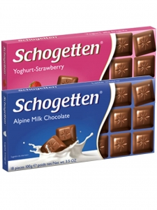 Alpine Milk & Yoghurt-Strawberry Chocolates, (Pack Of 2) (Schogetten,Germany)