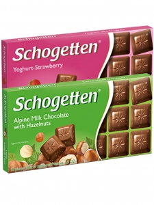 Yoghurt-Strawberry & Alpine Milk Chocolate With Hazelnuts (Pack Of 2) (Schogetten,Germany)