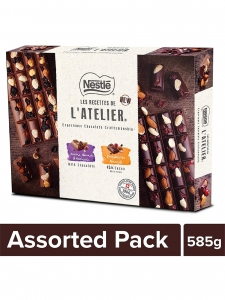 Nestlé LES RECETTES DE L'Atelier Swiss Chocolates Gift Pack - 585g.(Pack of 3 Tablets)